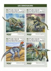 Central Africa - 2019 Dinosaurs - 4 Stamp Sheet - CA18903a