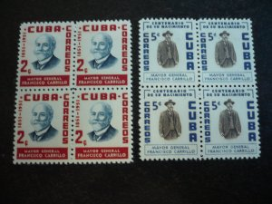 Stamps - Cuba - Scott#537-538 - Mint Hinged Set of 2 Stamps in Block of 4