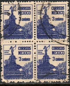 MEXICO 839, 3c DIANA FOUNTAIN, 1934 DEF ISSUE. Used block of four. F-VF.  (284)