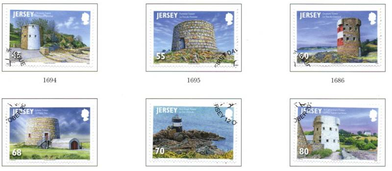 Jersey Sc 1621-6 2012 Coastal Towers stamp set used