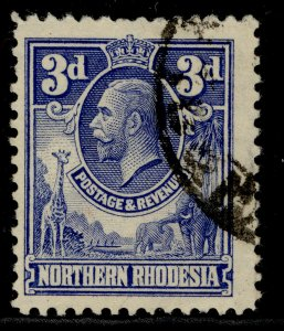 NORTHERN RHODESIA GV SG5, 3d ultramarine, FINE USED.