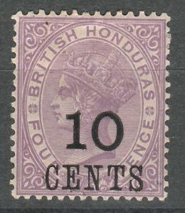 BRITISH HONDURAS 1888 QV 10C ON 4D LARGE NUMERAL