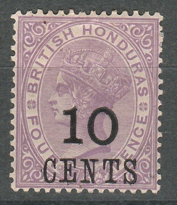 BRITISH HONDURAS 1888 QV 10C ON 4D LARGE NUMERAL
