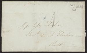 1838 Scotland stampless folded cover (no letter) w/Leith receiving cancel
