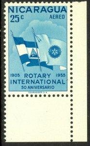 NICARAGUA 1955 25c ROTARY INTERNATIONAL Airmail Sc C358 MNH