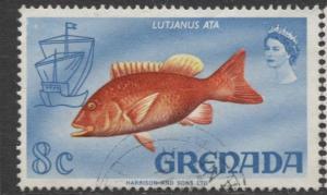 Grenada -Scott 299 -  Flowers,Fish, Reptile Issue -1968 - FU -Single 8c Stamp