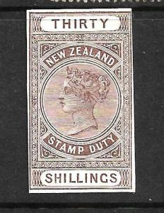 NEW ZEALAND 1880  30 /- QV  FISCAL  PLATE PROOF   ....