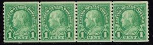 US STAMP #597 Series of 1923-29 1¢ Ben Franklin MNH/OG STRIP OF 4