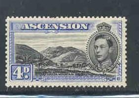 Ascension Sc 44Bd  1944 4d G VI & Mtns pf 13 1/2 stamp mint