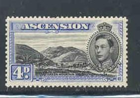 Ascension Sc 44Bd  1944 4d G VI & Mtns pf 13 1/2 stamp mint