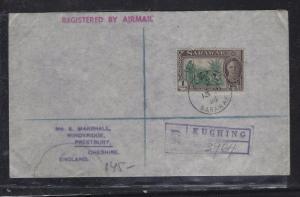 SARAWAK POSTAL HISTORY (PP1509B) 1958  KGVI $1.00 KUCHING REG TO ENGLAND