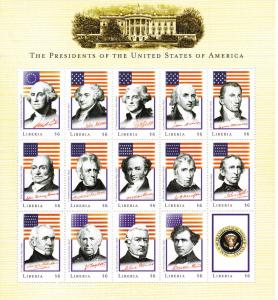 Liberia Presidents of the U.S., Unlisted set of 3 sheets, NH