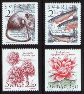 Sweden # 1526-1529 -- Mint Never Hinged -- Wildlife - Flo...