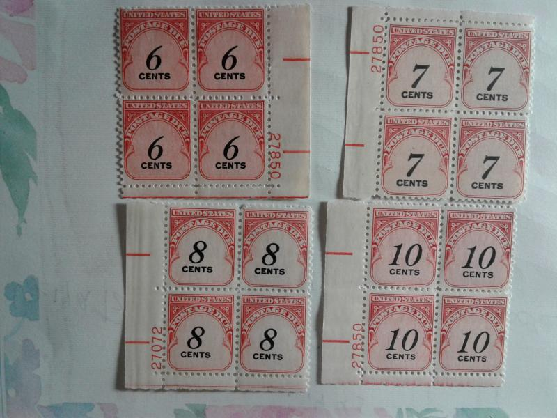 SCOTT #'s J 94-J 97 UNITED STATES POSTAGE DUE PLATE BLOCKS MINT NEVER HINGED