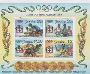 JAMAICA Souvenir Sheet #580a MNH  - OLYMPIC GAMES 1984 - FB78