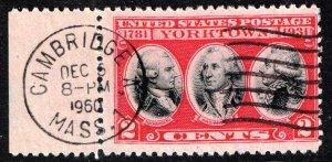 US STAMP #703 – 1931 2c Yorktown Issue used vignette error