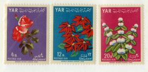 YEMEN J12-J14 MNH SCV $9.90 BIN $6.00 FLOWERS