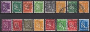 Finland  - 1930 Arms Type x 16 Different Used