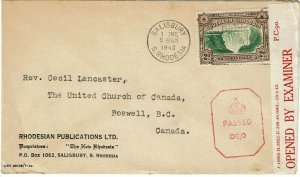 Southern Rhodesia 1943 Salisbury cancel on cover to Canada, censored
