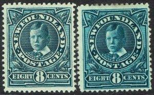 NEWFOUNDLAND 1911 CORONATION 8C PRINCE JOHN BOTH SHADES