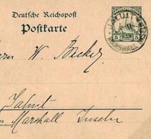 German Colonies MARSHALL IS Stationery Card *JALUIT* CDS Scarce Origin 1911 F285