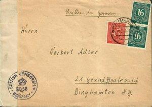 German Postal History Cover British Censor
