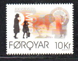 Faroe Islands Sc 548 2011 International Womens Day stamp mint NH