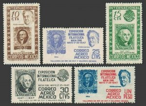 Mexico 826-827,C167-C169,MNH.Michel 920-924. EXPO NYC 1947.Franklin D.Roosevelt.