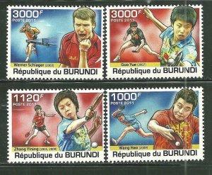 Burundi MNH 976-9 Table Tennis Players 2011 SCV 12.50