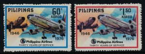 Philippines 1287-8 MNH Philippines Airlines, Aircraft, DC-10