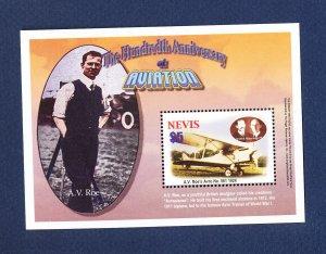 NEVIS - Scott 1341 -  FVF MNH S/S - Airplane  - 2003