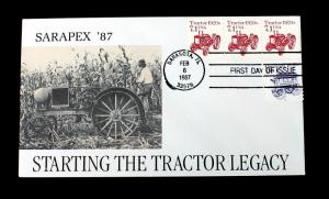 US Stamp Sc# 2127 & 1897 P#5 Combo FDC SARAPEX '87 Starting the Tractor Legacy