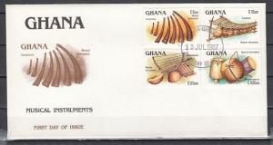 Ghana, Scott cat. 1038-1041. Native Music Instruments. First day cover.