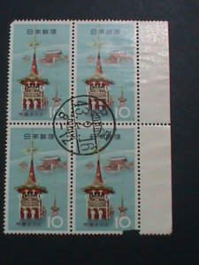 JAPAN STAMP-1943-BEAUTIFUL CANCEL PAGODA USED BLOCK OF-4 ALMOST 80 YEARS OLD