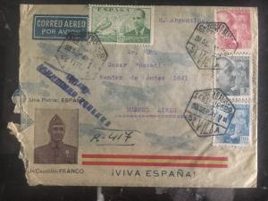1941 Sevilla Spain Registered Patriotic Cover To Buenos Aires Argentina