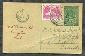 431 - PAKISTAN Lahore 1957 Uprated Postal Card to CANADA Fort Smith NWT