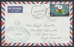 SOLOMON IS 1974 commercial cover to PNG,  SASAMUNNGA POSTAL AGENCY.........53590