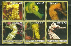 Mozambique MNH 1658A-F Sea Horses 2002 SCV 9.50