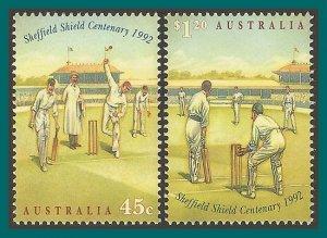 Australia 1992 Sheffield Shield Cricket, MNH  #1301-1302,SG1381-SG1382