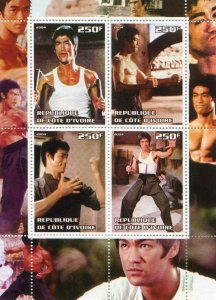 Ivory Coast 2004 BRUCE LEE Martial Artist Sheet Perforated Mint (NH)