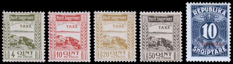 Albania Scott J14-17 Proof Set, J31 (1920, 1926) Mint H F-VF
