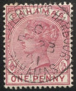 BAHAMAS 1884 Sc 27a, Used VF 1d QV, SOTN GOVERNOR'S HARBOUR postmark cancel