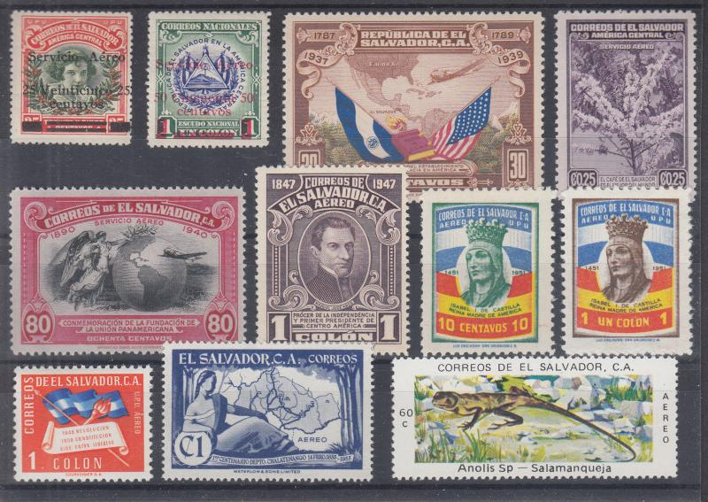 Salvador Sc C9/C387 MLH. 1930-76 Air Mail issues, 11 better singles + 3 s/s