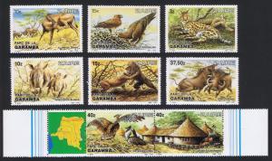 Zaire Birds Wild Animals Garamba 6v+strip of 2v with margins SG#1172-1179