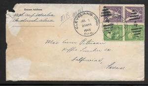 Just Fun Covers #804 & 905 CLEVELAND OHIO DPO. JUL/06/1945 ON ENVELOPE (my3039)