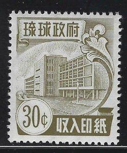 Ryukyu Islands 1959 30c Revenue Sc# R22 NH