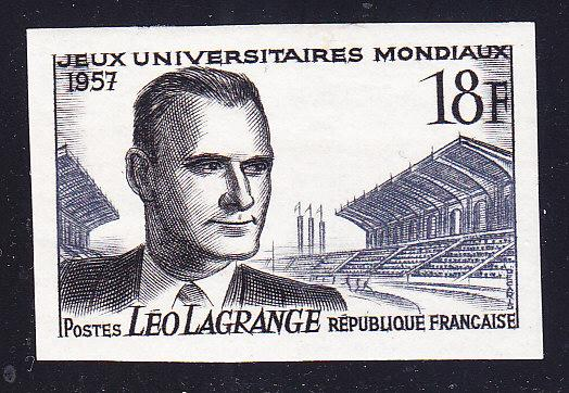 France 1957 18f Leo Lagrange IMPERF VF/NH(**)