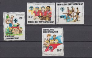 J29536, 1982 central africa set mnh #497-500 scouts