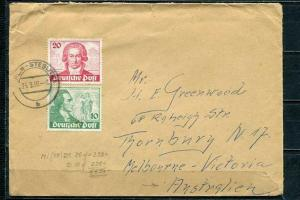 Germany 1950 Cover to Australia Mi 61-2 Goethe.Rare CV 300 euro g3152