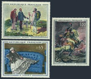 France 1049-1051,MNH.Michel 1415-1417. Art 1962.Courbet,Edouard Manet,Gericault.